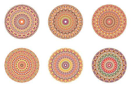 Round abstract circular gravel ornament mandala set