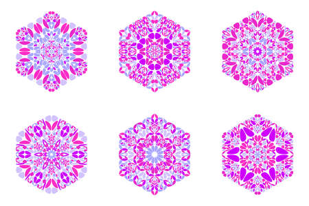 Isolated geometrical colorful floral hexagon logo template set