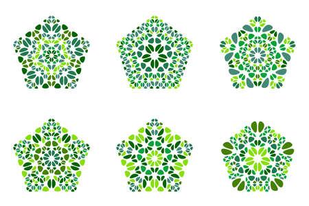 Insieme di forma di pentagono di fiori colorati geometrici isolati ornati Vettoriali
