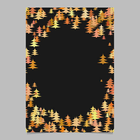 Modern chaotic pine tree pattern page border template 向量圖像