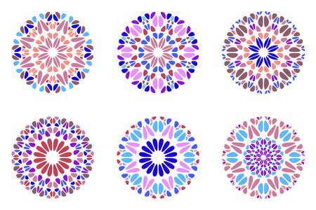 Colorful ornate geometrical abstract round gemstone mandala logo set  イラスト・ベクター素材