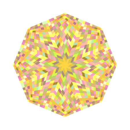 Abstract colorful geometrical tiled mosaic octagon shape Illustration