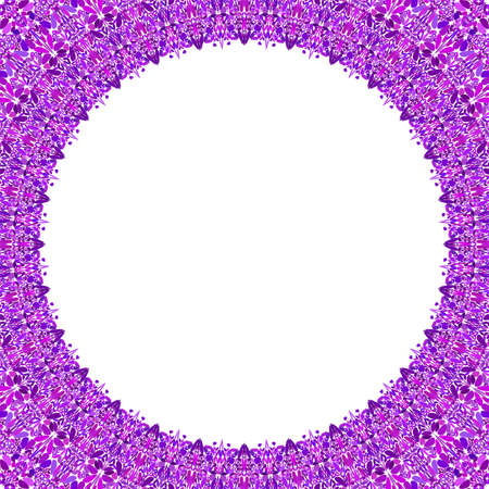 Round floral frame design - abstract vector border graphic element Stock Illustratie