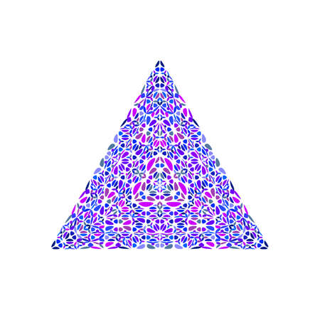 Colorful isolated ornate floral mosaic triangle polygon