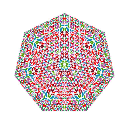 Colorful isolated ornate floral mosaic heptagon shape
