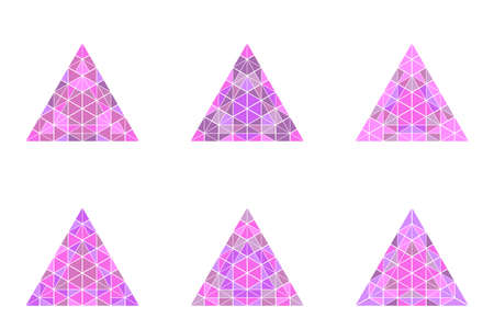 Geometrical ornate polygonal colorful triangle pyramid shape set Ilustrace