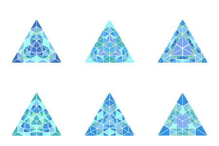 Abstract isolated ornate mosaic pyramid polygon set Ilustrace
