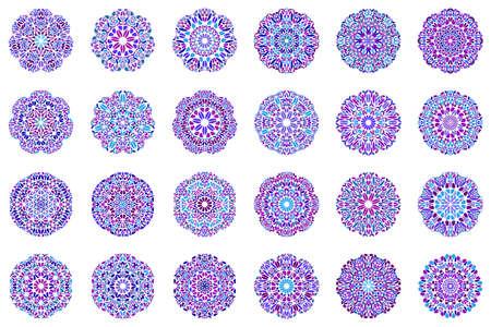 Ornate colorful geometrical petal mandala symbol set