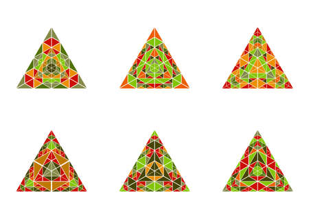 Isolated colorful abstract mosaic triangle polygon set Standard-Bild - 130695761