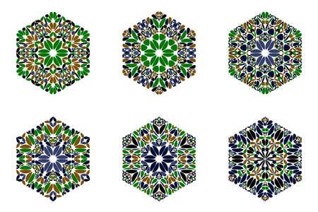 Ornate geometrical colorful floral ornament hexagon polygon set Stock Illustratie