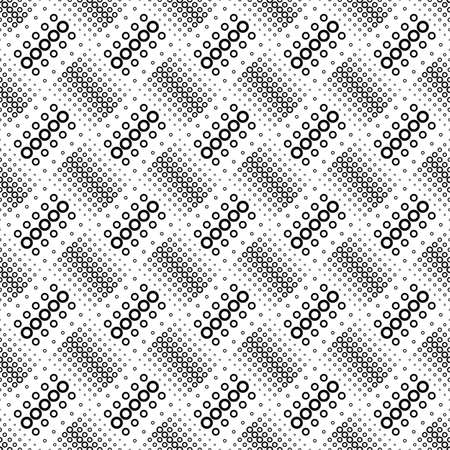 Seamless geometrical circle pattern background - black and white vector design from rings