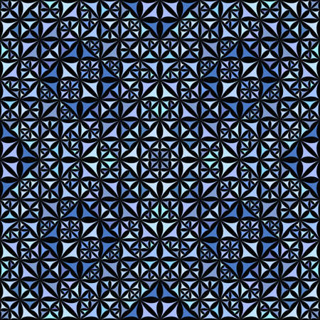 Blue seamless abstract curved triangle mosaic kaleidoscope wallpaper pattern