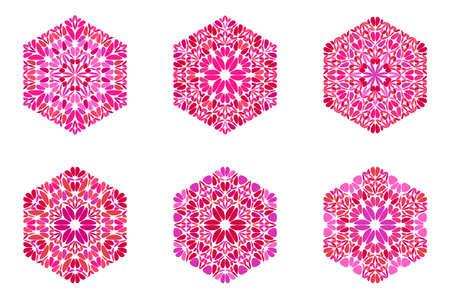 Geometrical colorful abstract petal ornament hexagon shape set