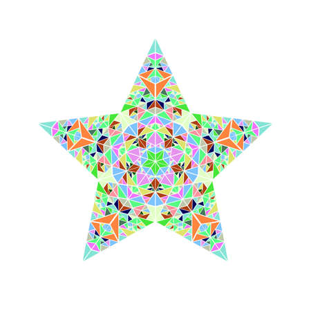 Polygonal colorful geometrical isolated tiled mosaic star symbol