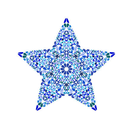 Isolated colorful abstract gravel ornament star shape