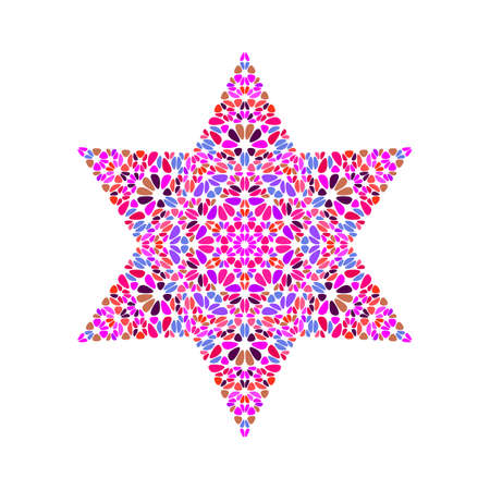 Isolated flower star polygon - geometrical pentagonal vector element Illustration