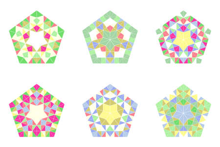 Geometrical ornate abstract tiled pentagon symbol set - colorful geometric ornamental polygonal vector illustrations with mosaic triangles