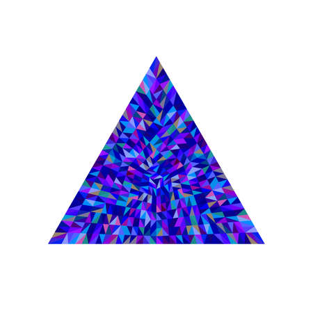 Abstract tiled mosaic triangle logo template - geometrical ornamental colorful vector element Ilustrace