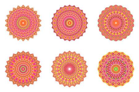 Round geometrical abstract ornate triangle tile pattern mandala set