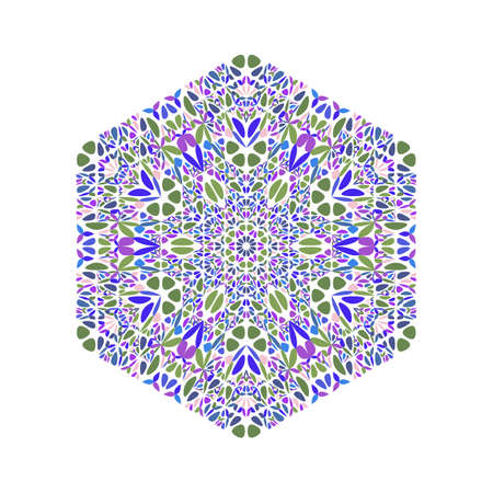 Geometrical floral mosaic ornament hexagon symbol template Ilustrace