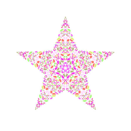 Isolated geometrical colorful petal ornament star polygon
