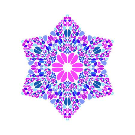 Colorful gemstone star polygon - pentagonal geometrical ornamental vector design element