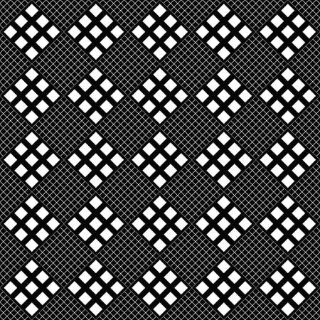 Seamless geometrical square pattern background - abstract monochrome vector graphic design from diagonal squares