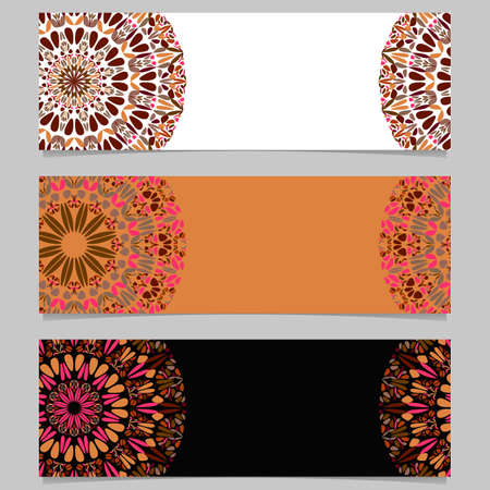 Abstract floral mandala banner background set - colorful vector graphic designs with geometrical mandalas