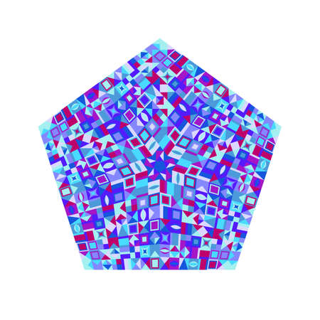 Abstract mosaic pentagon logo template - geometrical colorful vector element