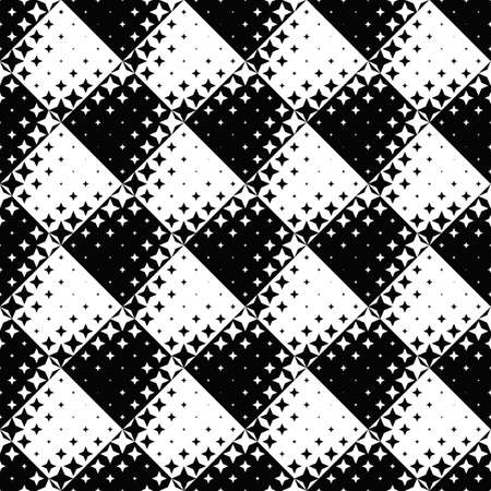 Geometrical seamless abstract star pattern background - black and white vector design