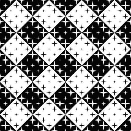 Abstract geometrical black and white seamless star pattern background Vecteurs