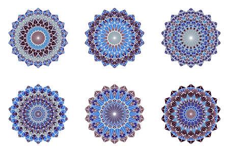 Round ornate colorful triangle mosaic mandala   set