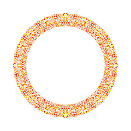 Geometrical floral circular border - abstract round vector element