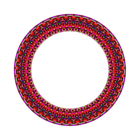 Tiled mosaic frame - geometrical circular abstract vector design element