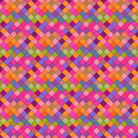 Seamless multicolor geometrical diagonal square pattern background - multicolored abstract vector design from squares Ilustrace