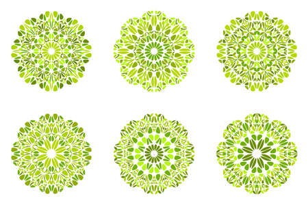 Geometrical round flower mandala symbol set - ornamental abstract circular ornate vector elements