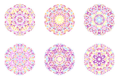 Round ornate floral ornament mandala   set - ornamental geometrical abstract vector graphics from curved shapes