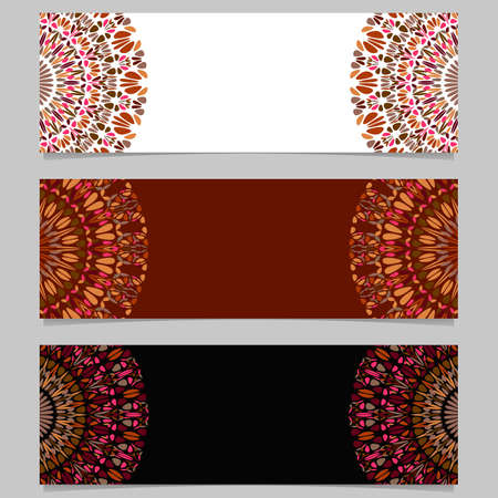 Abstract floral mandala banner set - colorful vector graphic elements
