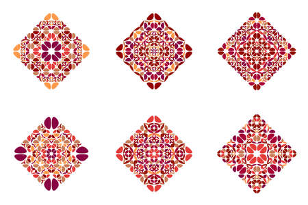 Isolated flower diagonal square symbol set - geometric ornamental squared colorful vector illustrations with curved shapes