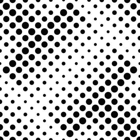 Seamless abstract geometrical circle pattern background - black and white vector graphic design from dots