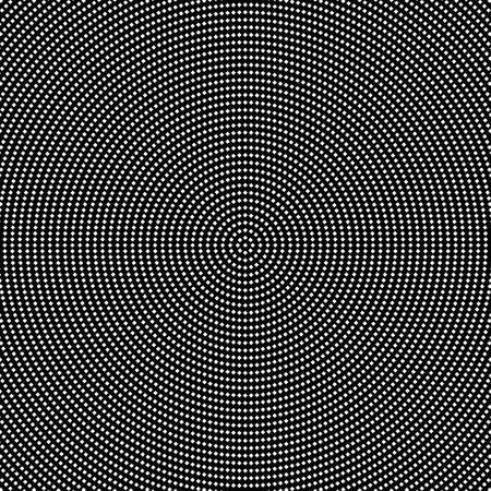 Geometrical halftone round square pattern background - abstract black and white circular vector design from squares Ilustrace