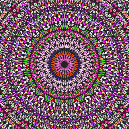 Dynamic geometrical oriental colorful ornament pattern background design - hypnotic floral psychedelic vector graphic from curved stones