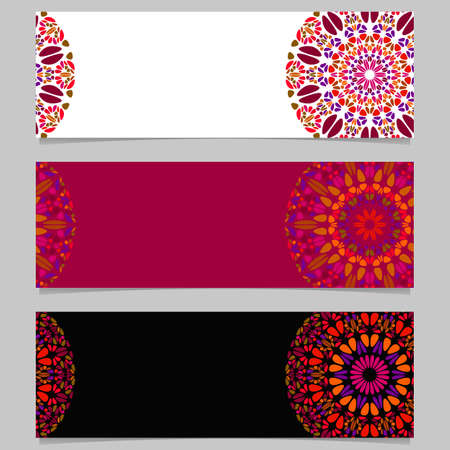 Geometrical horizontal stone mandala banner background set - colorful abstract vector design elements with round geometry