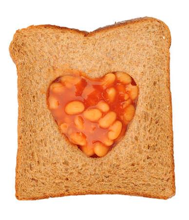baked beans on toast heart shape 스톡 콘텐츠