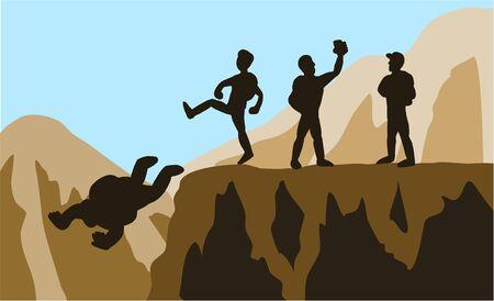 The team of climbers who kicked weak teammates fell. Vektoros illusztráció