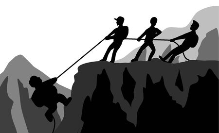 Team of climbers who help each other.