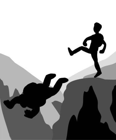 Climbers kicking weak friends down the cliff.