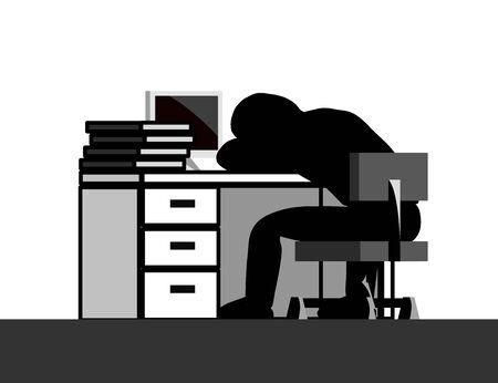 Men who sleep at work. Ilustracja