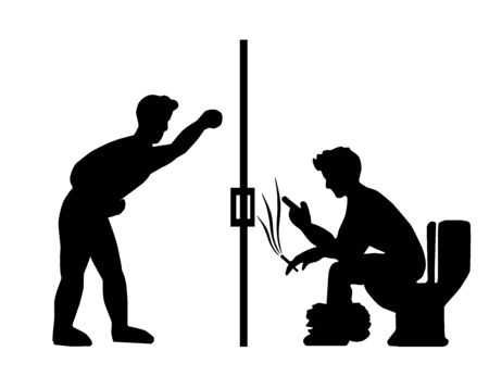 Men who enter the toilet using the phone and smoke too. He was not interested in waiting for a queue at all. Illustration