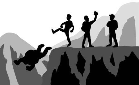 The team of climbers who kicked weak teammates fell.